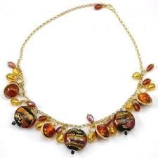 charm necklace with beads images Red and gold square murano bead necklace murano glass jewelry jpg