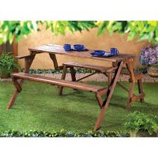 Rustic Wooden Outdoor Furniture Amazon Com Folding Convertible Outdoor Bench Garden Picnic Table