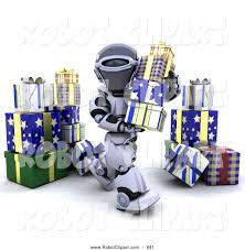 clipart of a 3d robot moving christmas gifts by kj pargeter 841