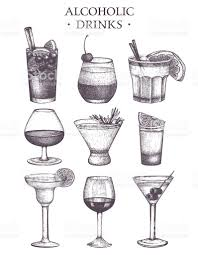 cosmopolitan drink drawing vector set of vintage alcoholic drinks sketch stock vector art