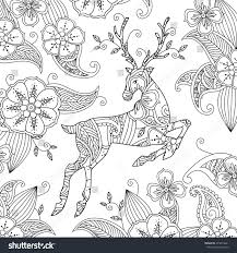 coloring page beautiful running deer floral stock vector 473813041