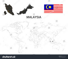 World Map With Flags Malaysia Map On World Map Flag Stock Vector 745674553 Shutterstock