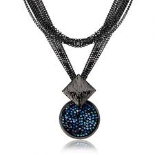 blue crystal necklace pendant images Long chain navy blue rhinestone sweater necklace pendant jpg