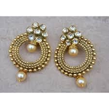 dangler earring earrings golden bead kundan pearl dangler earrings online orne