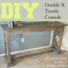 Diy Console Table Pneumatic Addict Double X Trestle Console