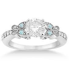 aquamarine diamond ring butterfly diamond aquamarine engagement ring 14k white gold 0 20ct