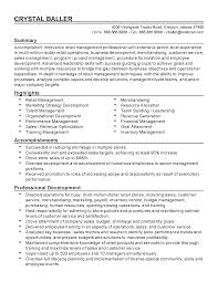 Resume Templates Retail Resume Templates For Retail Management Positions Free Resume
