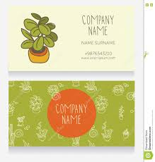 Cute Plant by Business Card Design With Cute Potted Plants Stock Vector Image