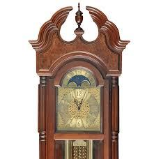 Herman Miller Clock 1988 Howard Miller Burl Wood Grandfather Clock With Moon Dial Ebth