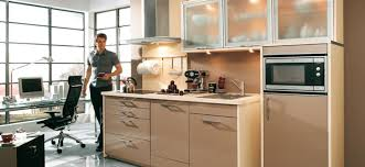 kitchen white sainted wooden base wall tall cabinets side by