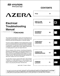 2008 hyundai azera electrical troubleshooting manual original