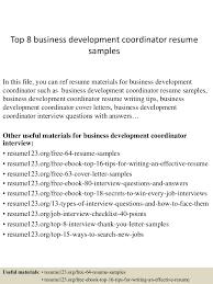 Logistics Coordinator Resume Sample by Top8businessdevelopmentcoordinatorresumesamples 150406201234 Conversion Gate01 Thumbnail 4 Jpg Cb U003d1428369200