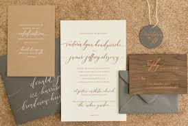wedding stationery rustic boho wood and copper foil wedding invitations