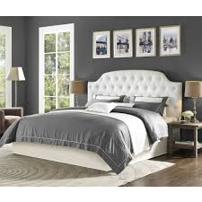 Master Bedroom Headboard Wall Light And Airy Bedroom With White Upholstered Headboard And Bed