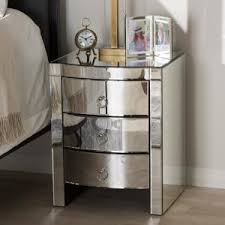 baxton studio chevron 3 drawer silver mirrored nightstand 28862