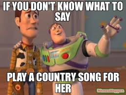 Country Meme - if you don t know what to say play a country song for her meme x