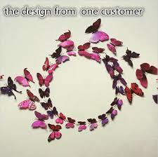 1set 12pcs colorful design 3d butterfly wall decor plastic