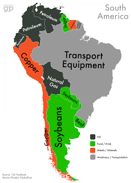 North America South America Map by World Commodities Map South America Visual Ly