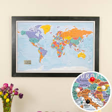 Map With Oceans Personalized Blue Oceans World Travel Map With Pins And Frame