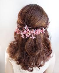 hair wreath alanna gold and dusty pink flower hair vine