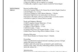 Sample Ministry Resume by Resume Template For Church Reentrycorps