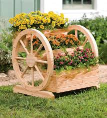 solid wood wagon wheel tiered planter plow hearth gardening
