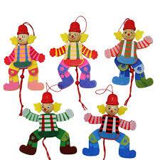 string puppet hot children classic wooden pull string puppet clown toys