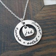 Necklace With Initials Personalized Necklace With Kids Names And Parents Initials