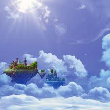 freeios7 sky island castle parallax hd iphone ipad wallpaper