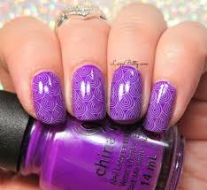 purple nail art stamping lazy betty
