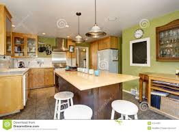 Kitchen Green Kitchen Colors Stock Unique Kitchen With Green Walls And Island Stock Photo Image