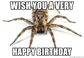 Spider Meme - wish you a very happy birthday scary spider meme generator