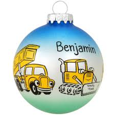 personalized construction equipment glass ornament bronner s