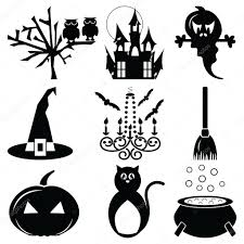 spooky cemetery clipart halloween icons set 2 in black u0026 white including owl spooky tree