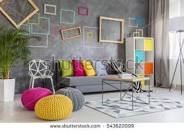 Pillows For Grey Sofa Spacious Modern Lounge Grey Sofa Colorful Stock Photo 543622099