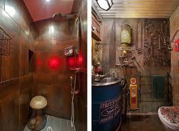 steampunk home decor bathroom brick walls gorgeous bathroom design using steampunk