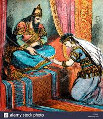 bible stories illustration of king ahasuerus placing the crown