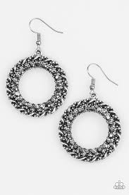 grunge earrings paparazzi accessories grunge and glitter silver