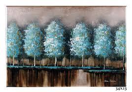 metallic silver w aqua u0026 green trees u2013 dejean art