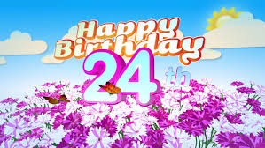 animated happy 21st birthday card with a field of flowers while
