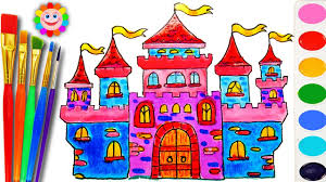 how to draw and color a castle house for kids coloring book with