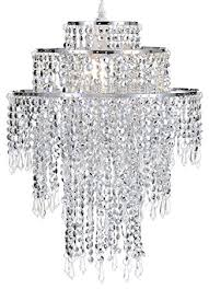 Chandelier Lamp Shades With Beads Waneway Large 3 Tiers Chrome Sparkling Beads Pendant Shade