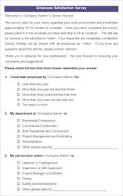Free Survey Templates For Word by Employee Satisfaction Survey Templates 4 Free Word Documents