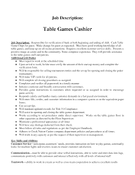 Cashier Example Resume by Cashier Job Description Resume Table Games Cashier Cashier Resume