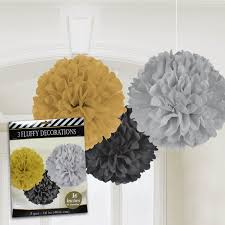black and gold centerpieces silver black and gold fluffy decorations 3 pack