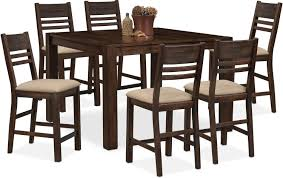 tribeca counter height table and 6 side chairs tobacco value hover to zoom