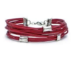 multi leather bracelet images Multi strand red leather cord bracelet with silver beads lucky jpg