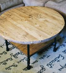 reclaimed wood round coffee table with shelf home furniture