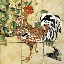 Kitchen Tile Murals Tile Art Backsplashes Ito Jakuchu Rooster And Morning Glories