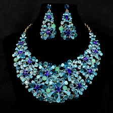 gemstone necklace sets images Blue sapphire rhinestone bridal wedding jewelry sets african jpg